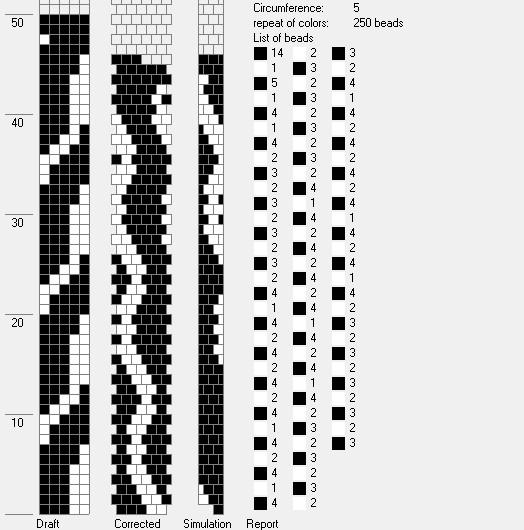 Схема жгута из бисера 2 цвета