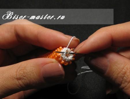 Оформление концов толстого бисерного жгута с помощью штифтов