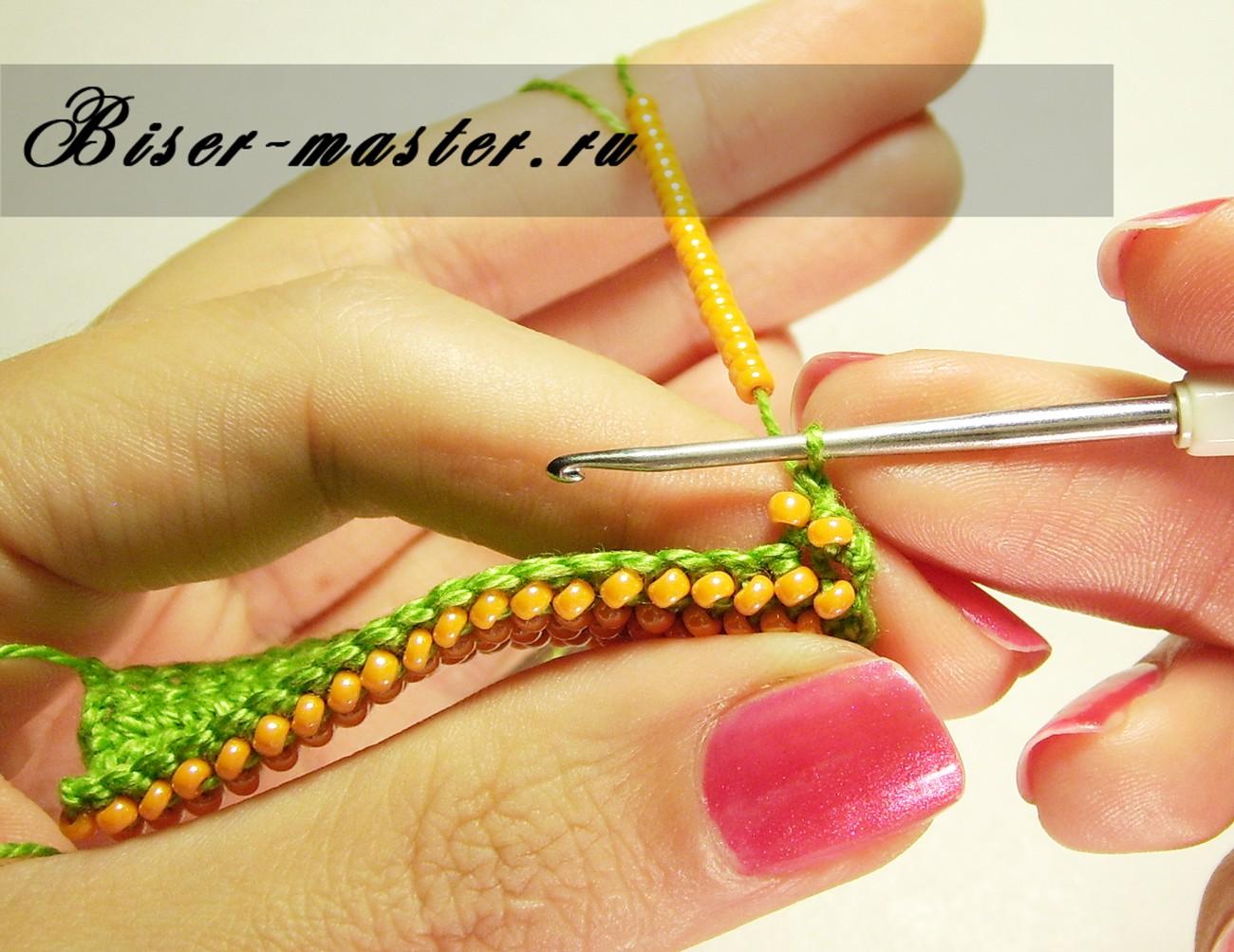 Вязание прямого полотна бисером