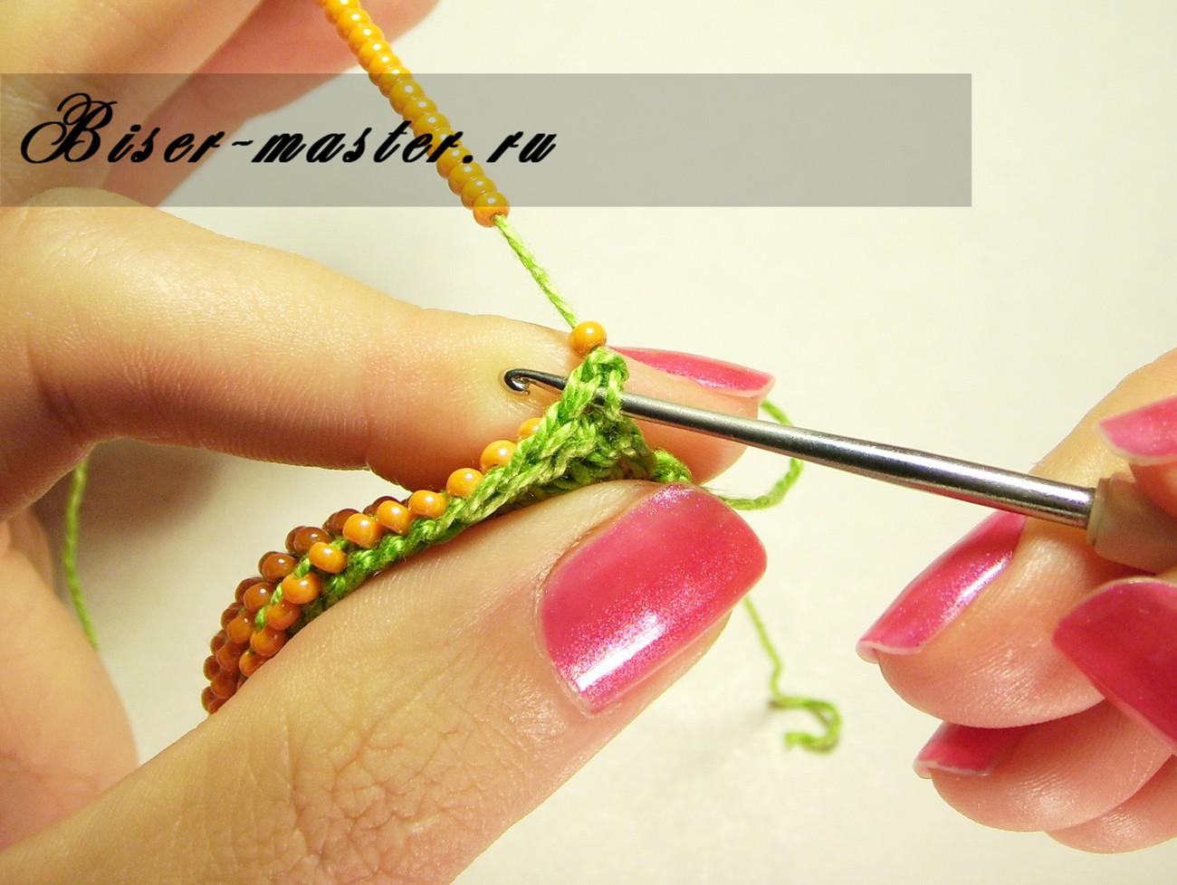 Вязание с бисером крючком столбики